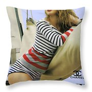 Vogue, Coco Chanel, Vintage Nautical Look, Yatching Throw Pillow