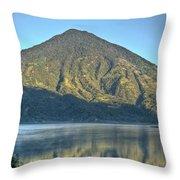 Volcano And Reflection Lake Atitlan Guatemala 3 Throw Pillow