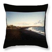 Volcano Black Sand Beach Throw Pillow