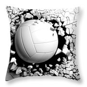 Volleyball Ball Breaking Forcibly Through A White Wall. 3d Illustration. Throw Pillow