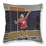 Volleyball Girl Throw Pillow by Kelley King