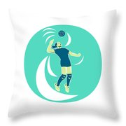 Volleyball Player Spiking High Circle Retro Throw Pillow