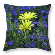 Voltage Yellow And Electric Blue 06 Throw Pillow