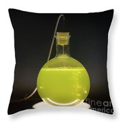Volumetric Flask With Green Liquid Chemical Experiment Throw Pillow