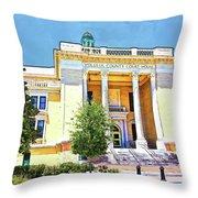 Volusia County Court House Yellow Throw Pillow