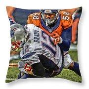 Von Miller Denver Broncos Art Throw Pillow