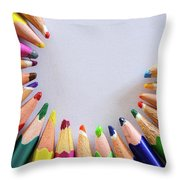 Vortex Of Colored Pencils On The Sheet Of Paper Throw Pillow