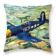Quiet Sky - Vought F4u-1d Corsair Throw Pillow
