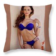 Voula Blue Bikini Throw Pillow