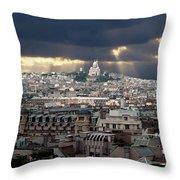 Vue De La Butte Montmartre.roofs Of Paris Throw Pillow