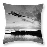 Vulcan Low Over A Sunset Lake Sunset Lake Bw Throw Pillow