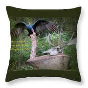 vulture with Skull Throw Pillow