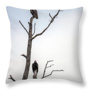 Vultures Perched In A Dead Tree Throw Pillow