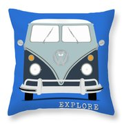 Vw Bus Blue Throw Pillow