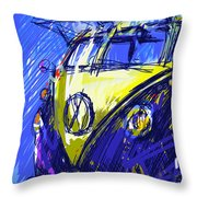 Vw Bus Blue Throw Pillow