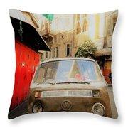 Vw Bus Parked In Basta Beirut  Throw Pillow