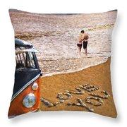 Vw Love On Beach Throw Pillow