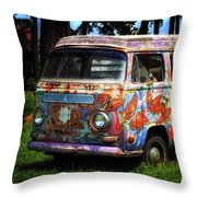 Vw Psychedelic Microbus Throw Pillow