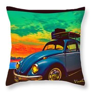 Classic Surf Rod Throw Pillow