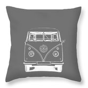 Vw Van Graphic Artwork Tee White Throw Pillow