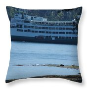 Wa State Ferry In Manchester Throw Pillow