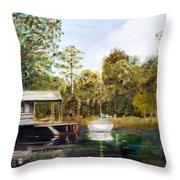 Waccamaw River Sloop Throw Pillow