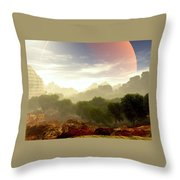 Wada's Red Moon Throw Pillow