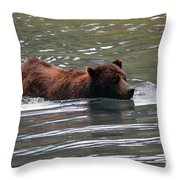 Wading Brown Bear Throw Pillow
