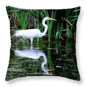 Wading For Food Throw Pillow