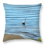 Wading Heron Throw Pillow