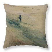 Wading In The Surf Throw Pillow