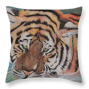 Wading Tiger Throw Pillow