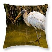 Wading Wood Stork Throw Pillow
