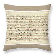Wagner, Richard Autograph Working Drafts For Act I Of Der Fliegende Hollander Throw Pillow