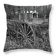 Wagon In The Woods Throw Pillow