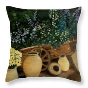 Wagon Of Fall Beauty Throw Pillow