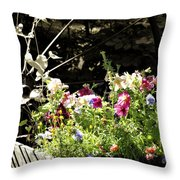 Wagon Wheel And Flowers Throw Pillow
