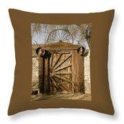 Wagon Wheel Gate Throw Pillow