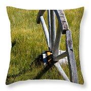 Wagon Wheel In Grass Throw Pillow
