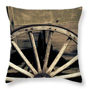 Wagon Wheel - Old West Trail N832 Sepia Throw Pillow