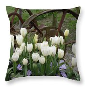 Wagon Wheel Tulips Throw Pillow