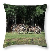 Wagon Wheels Reflecting In A Pond Throw Pillow
