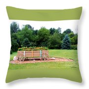 Wagon With Flowers Throw Pillow
