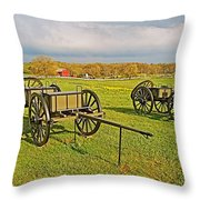 Wagons Used In The Civil War In Gettysburg National Military Park-pennsylvania Throw Pillow