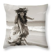 Wahine Hula Throw Pillow