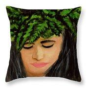 Wahine Woman In Hawaiian #244 Throw Pillow