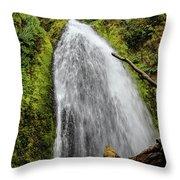 Wahkeena Falls At Footbridge, Oregon Throw Pillow