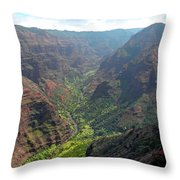 Waiamea Canyon Kauai Throw Pillow