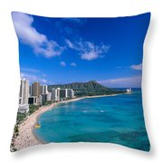 Waikiki And Diamond Head Throw Pillow