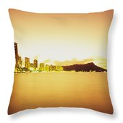 Waikiki At Sunset Throw Pillow